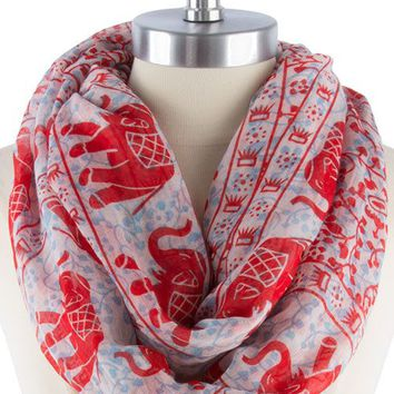 LUCKY MARCHING ELEPHANT PRINT INFINITY SCARF