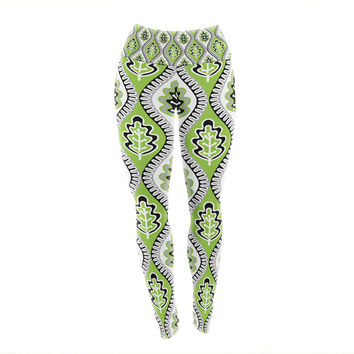 "Jacqueline Milton ""Oak Leaf - Lime"" Green Floral Yoga Leggings"