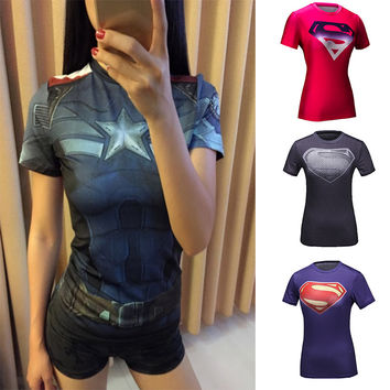 High Quality Women T-shirt Bodys Armour Marvel costume Captain America/superman/spiderman T Shirt Girl Fitness Tights