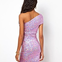 One Shoulder Mini Sequin Dress