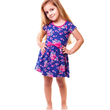 Dalmaz Navy Blue Roses Bow Dress - Infant, Toddler & Girls | zulily