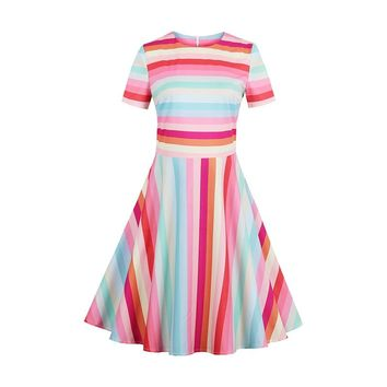 Vintacy Women Rainbow Dress Short Sleeve Stripe Colorful O Neck Casual Dress Female Pink Vintage Sweet A-Line Sundress