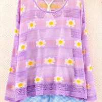 Daisy Flower Print Blouse for Women THB564 from topsales