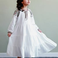 Annora Girls Boho Ivory Maxi Dress