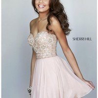 Sherri Hill 8548 Nude Dress: Short/Knee Length, Strapless, Sweetheart