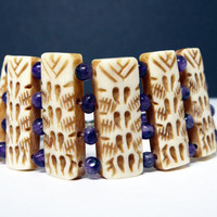 Carved Bone BOHO Bracelet - Tribal Carved Links - Purple Amethyst Spacer Beads - Vintage 1970's 1980's Era Hippie Style Jewelry