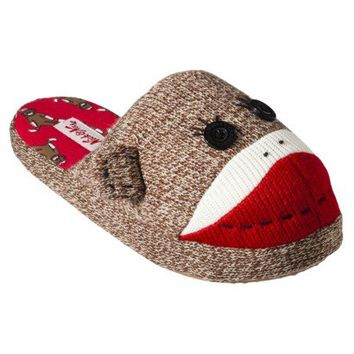 Nick & Nora® Women's Sock Monkey Slipper - Brown/Red