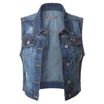 LE3NO Womens Fitted Cropped Denim Vest Jacket with Pockets