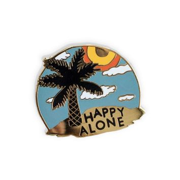 Happy Alone Island Enamel Pin
