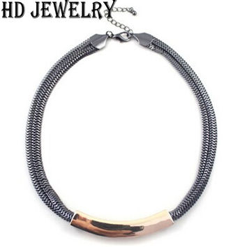New Fashion Black Alloy Chain Choker Necklace For Women Jewelry