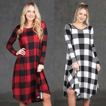 Fashion Women Plaid Casual Long Sleeve Evening Party Mini Dress With Pockets
