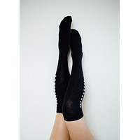 Black Alpaca Leaves Thigh High Socks