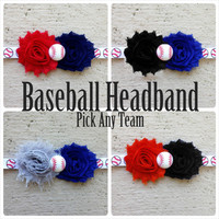 Baseball Headbands - PICK YOUR TEAM - Baby Headband, Toddler Headband, Newborn Headband, Girl Headband