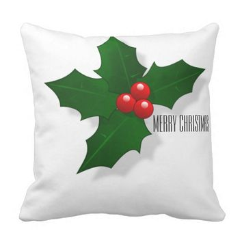 Green Holly Christmas Accent Throw Pillow