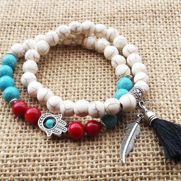 Bohemian Bracelet Stacks Boho Chic Bracelet Set Turquoise Howlite Tasssel Feather Hamsa Boho Summer Women Jewelry Red Coral Bracelet