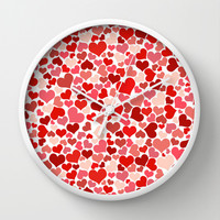 Hearts Collage Wall Clock by Poppo Inc. | Society6