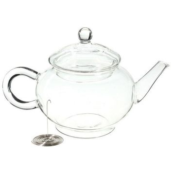 ICIKJG2 New Arrival 250ml/8.5oz Borosilicate Durable Glass Teapot Heat Resistant Bottle Cup for Blooming Tea Herbal Coffee with Infuser