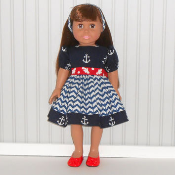 American Girl Doll Clothes Navy Nautical Dress with Anchors and Headband fits 18 inch Dolls