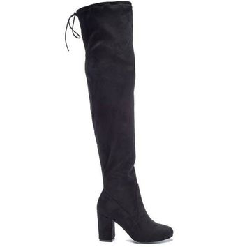 ESBONIG Chinese Laundry Kiara -Black Suede High-Heel Boot