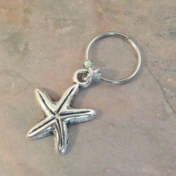Starfish Beaded Cartilage Hoop Earring - You Choose Colors