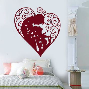 Vinyl Wall Decal Heart Love Lovers Man and Woman Butterflies Stickers (2458ig)