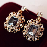 Jewelry Charm Fashion Wedding Earrings With Pearls Drop Earring Gold Plated Crystal Dangle Earrings Jewelry Gift for Women E180