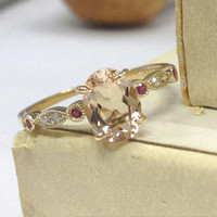 Morganite Engagement Ring 14K Yellow Gold!6x8mm Oval Cut Pink Morganite,Art Deco Antique,Ruby Diamond Promise Ring,Wedding Bridal Ring
