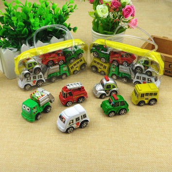6 pcs in 1 bag Multi Color Mini Hot Wheels Toy Car Model Miniature Car Toy Pull Back Bus Truck Kids Toys For Children Boy Gifts