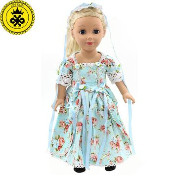"""American Girl Doll Clothes Elegant Color Flower Print Long Dress Doll Clothes For 18"""" American Girl Best Gift 5 Colors D-2"""