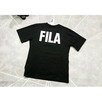 FILA 2018 men and women sports casual breathable couple T-shirt F-XMCP-YC Black