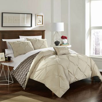 Chic Home 4-Piece Erin Pinch Pleated, REVERSIBLE Chevron Print ruffled and pleated complete Full/Queen Comforter Set Beige Shams and Decorative Pillows included