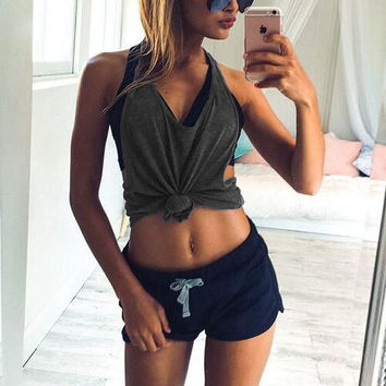 Solid Color Strappy Sleeveless Vest Tops Camisole