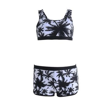 Free Shipping Sexy Women Crop Tops High Waist Shorts Floral Bikini Set Beach Swimwear Swimsuit