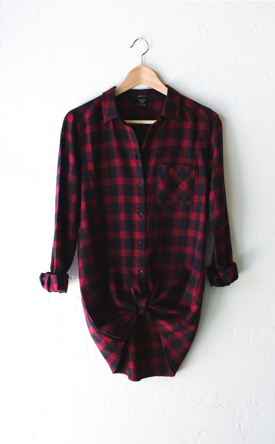 Oversized Plaid Flannel Shirt Burgundy From Nyct Clothing