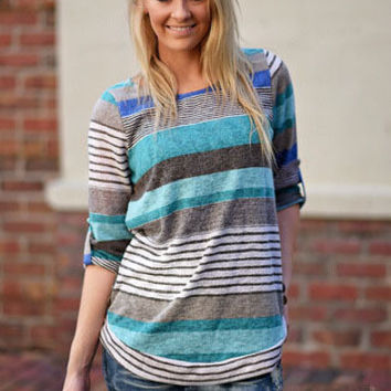 Autumn Stripes Scales Long Sleeve Plus Size Tops T-shirts [5024203844]