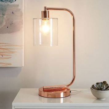 Lens Table Lamp + USB – Copper