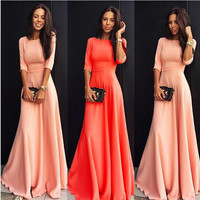 Solid Color Long Party Dress Plus Size Vestidos New 2016 Spring Autumn Women Three-quarter Sleeve Ladies Elegant Long Maxi Dress