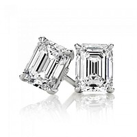4TCW Emerald Cut Russian Lab Diamond Earrings Birthday Graduation Wedding Anniversary