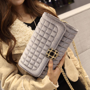 Summer Winter Suede Chain Stylish One Shoulder Bags Messenger Bags [6582921799]