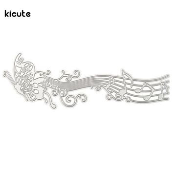 Romantic Music Score Butterfly Cutting Dies Stencils Art Embossing for DIY Scrapbooking Card Album Photo Painting Teaching Tool