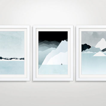 SALE Set of 3 Minimalist Posters, Mid Century Modern Art, Abstract Landscape, Blue Gray