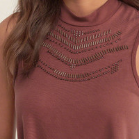 Embellished Mockneck Top