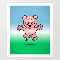 Cheerful little pig Art Print by Cardvibes