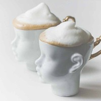 Porcelain doll head cups - whimsical set of white and gold artisan mugs, for coffee or tea