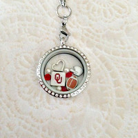 Oklahoma sooners inspired large stainless steel locket with choice of chain