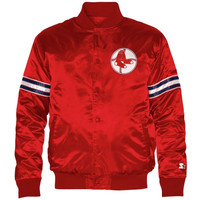 Starter Boston Red Sox Genuine Satin Snap-Up Jacket - Red