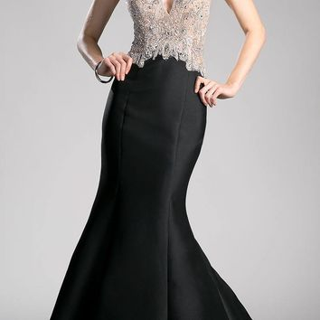 Black Halter Beaded Long Mermaid Prom Gown with Keyhole