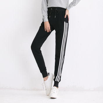"""Adidas"" Fashion Casual Simple Loose Thin Section Three White Vertical Stripe Leisure Pants Long Sweatpants"