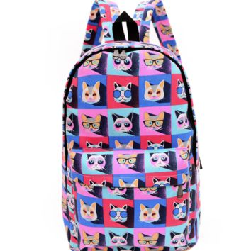 Colorful Cats Printed Canvas Backpack