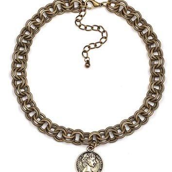 Casual Three Pieces Chain Coin Pendant Choker Necklace